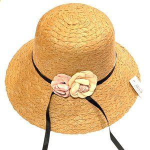 Summer Hat W/ Wide Brim & Flowers Sun Protection